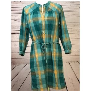 Patagonia Plaid Shirt Dress 10 Snap Front Tie Teal